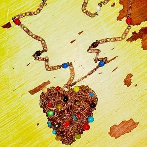 Jewelry - Handmade brass heart necklace with bead accents
